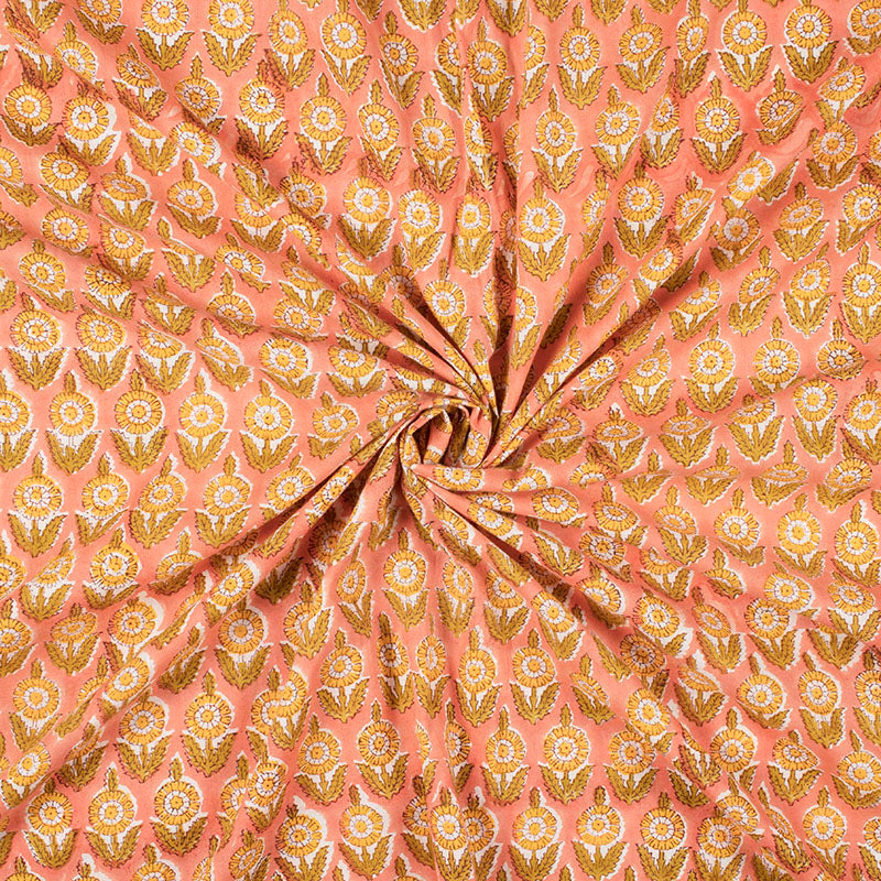 Peach And Merigold Yellow Floral Pattern Handblock Cotton Mulmul Fabric