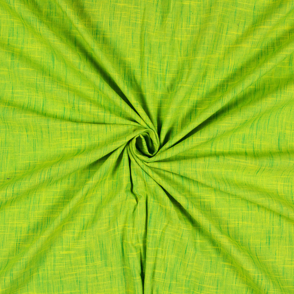 Liril Green And Yellow Weaved Pattern Handloom Cotton Fabric - Fabcurate