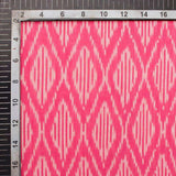 Pink And Light Grey Chevron Pattern Pre-Washed Mercerised Ikat Cotton Fabric