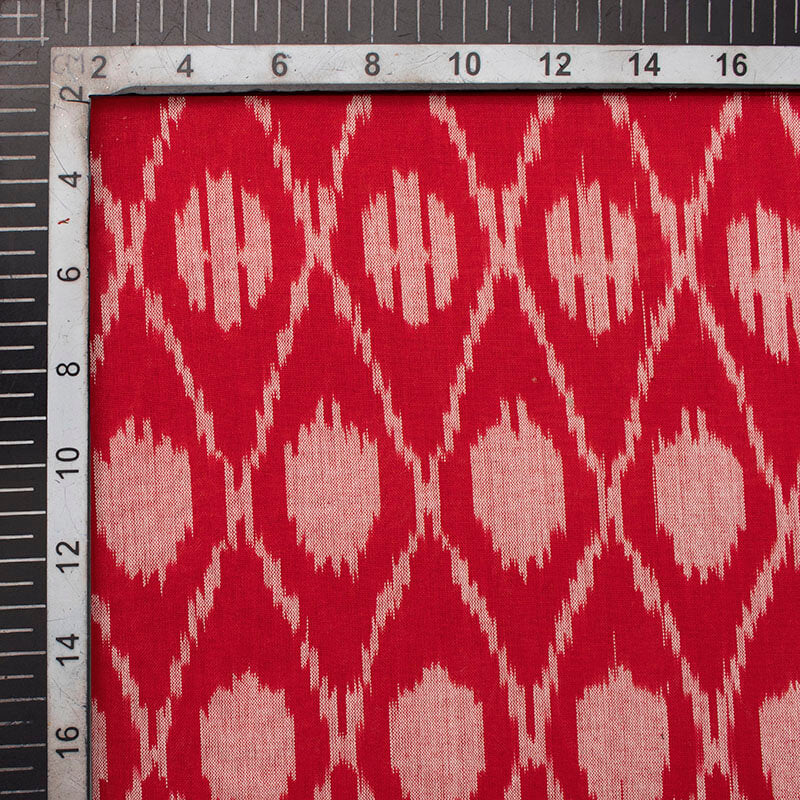 Red And Light Grey Chevron Pattern Pre-Washed Mercerised Ikat Cotton Fabric