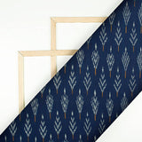 Navy Blue And Light Grey Leaf Pattern Pre-Washed Mercerised Ikat Cotton Fabric
