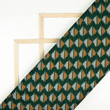 Forest Green And Fire Yellow Abstract Pattern Pre-Washed Mercerised Ikat Cotton Fabric