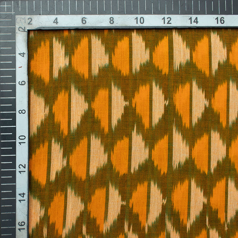 Olive Green And Fire Yellow Abstract Pattern Pre-Washed Mercerised Ikat Cotton Fabric