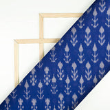 Midnight Blue And Off White Floral Pattern Pre-Washed Mercerised Ikat Cotton Fabric