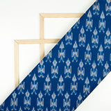 Midnight Blue And Snow White Abstract Pattern Pre-Washed Mercerised Ikat Cotton Fabric