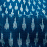 Agean Blue And Snow White Abstract Pattern Pre-Washed Mercerised Ikat Cotton Fabric
