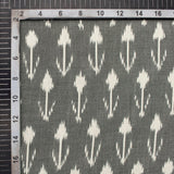 Steel Grey And Off White Abstract Pattern Pre-Washed Mercerised Ikat Cotton Fabric - Fabcurate