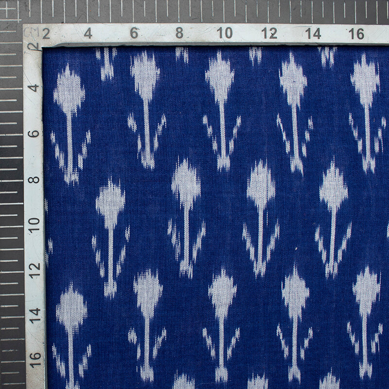 Royal Blue And Snow White Abstract Pattern Pre-Washed Mercerised Ikat Cotton Fabric