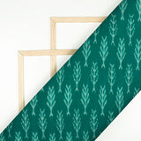 Pine Green And Snow White Abstract Pattern Pre-Washed Mercerised Ikat Cotton Fabric