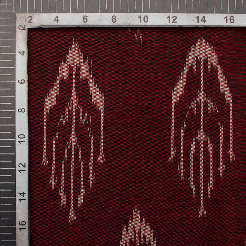Maroon And Off White Abstract Pattern Pre-Washed Ikat Cotton Fabric
