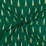 Green And Yellow Abstract Pattern Pre-Washed Ikat Cotton Fabric