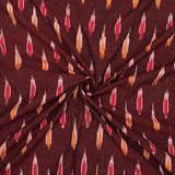 Maroon And Red Abstract Pattern Pre-Washed Ikat Cotton Fabric