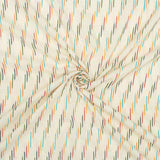 White And Multi-Color Stripes Pattern Pre-Washed Ikat Cotton Fabric