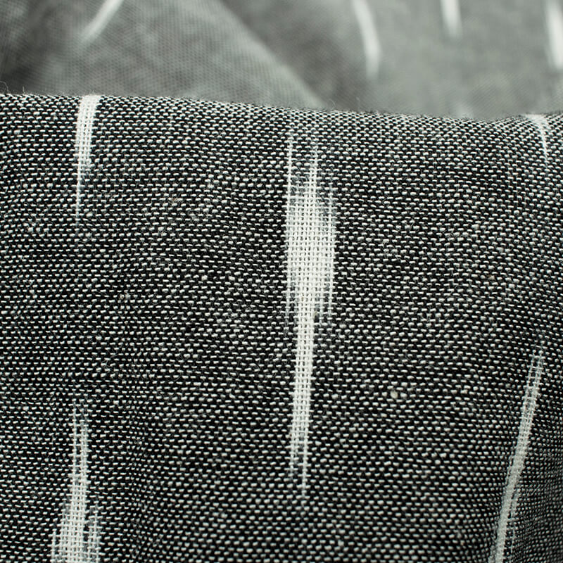 Grey And White Abstract Pattern Pre-Washed Ikat Cotton Fabric
