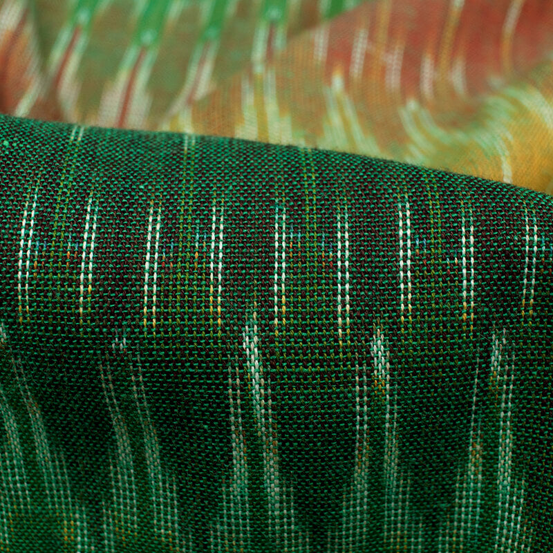 Green And Brown Trellis Pattern Pre-Washed Ikat Cotton Fabric