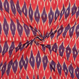 Red And Purple Trellis Pattern Pre-Washed Ikat Cotton Fabric