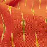 Marmalade Orange And Green Stripes Pattern Pre-Washed Ikat Cotton Fabric - Fabcurate