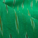 Green And Dark Pink Stripes Pattern Pre-Washed Ikat Cotton Fabric
