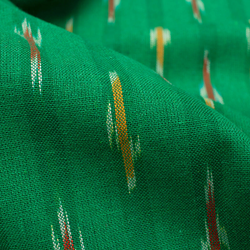 Green And Red Stripes Pattern Pre-Washed Ikat Cotton Fabric - Fabcurate