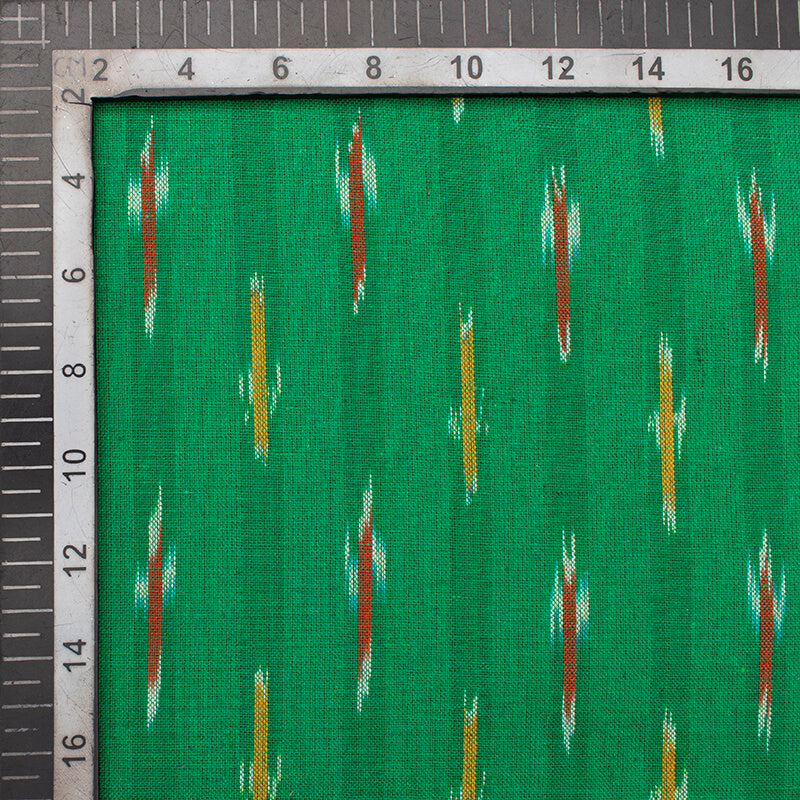 Green And Red Stripes Pattern Pre-Washed Ikat Cotton Fabric