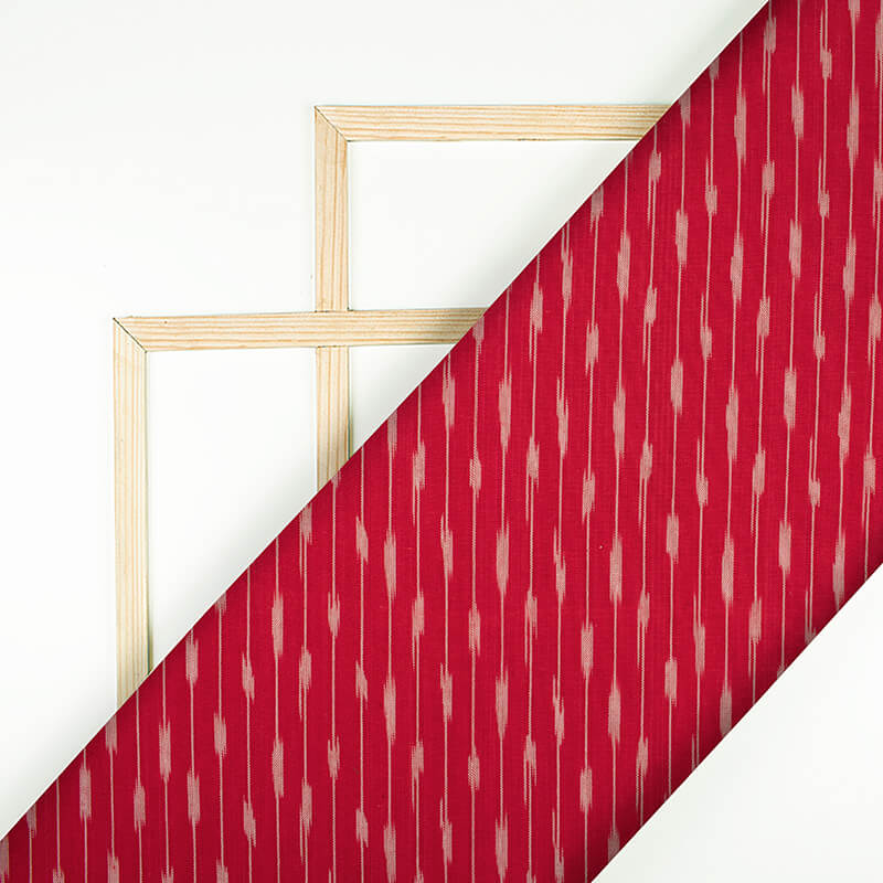 Red And Off White Stripes Pattern Pre-Washed Ikat Cotton Fabric