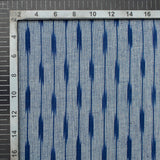 Grey And Navy Blue Stripes Pattern Pre-Washed Ikat Cotton Fabric