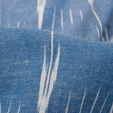 Cornflower Blue And White Stripes Pattern Pre-Washed Ikat Cotton Fabric