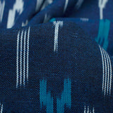 Navy Blue And Sky Blue Abstract Pattern Pre-Washed Ikat Cotton Fabric
