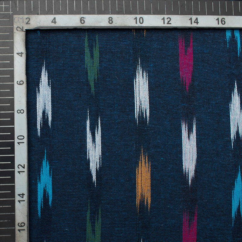 Aegean Blue And Olive Green Abstract Pattern Pre-Washed Ikat Cotton Fabric