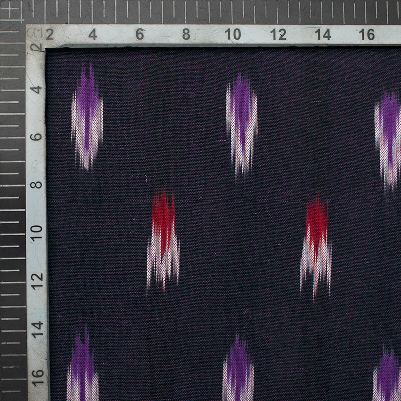 Dark Purple And Red Abstract Pattern Pre-Washed Ikat Cotton Fabric
