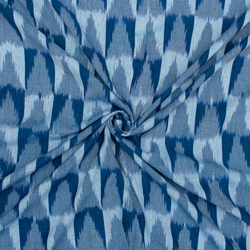 Pastel Blue And Navy Blue Geometric Pattern Pre-Washed Ikat Cotton Fabric