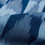 Pastel Blue And Navy Blue Geometric Pattern Pre-Washed Ikat Cotton Fabric - Fabcurate