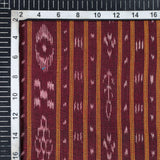 Maroon Stripes Pattern Loom Textured Pre-Washed Mercerised Sambhalpuri Ikat Cotton Fabric - Fabcurate