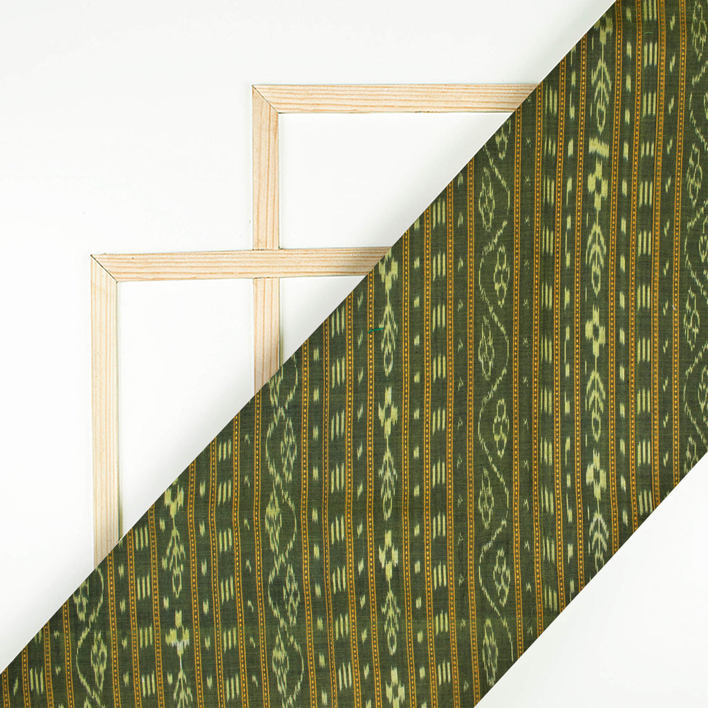 Olive Green Stripes Pattern Loom Textured Pre-Washed Mercerised Sambhalpuri Ikat Cotton Fabric - Fabcurate
