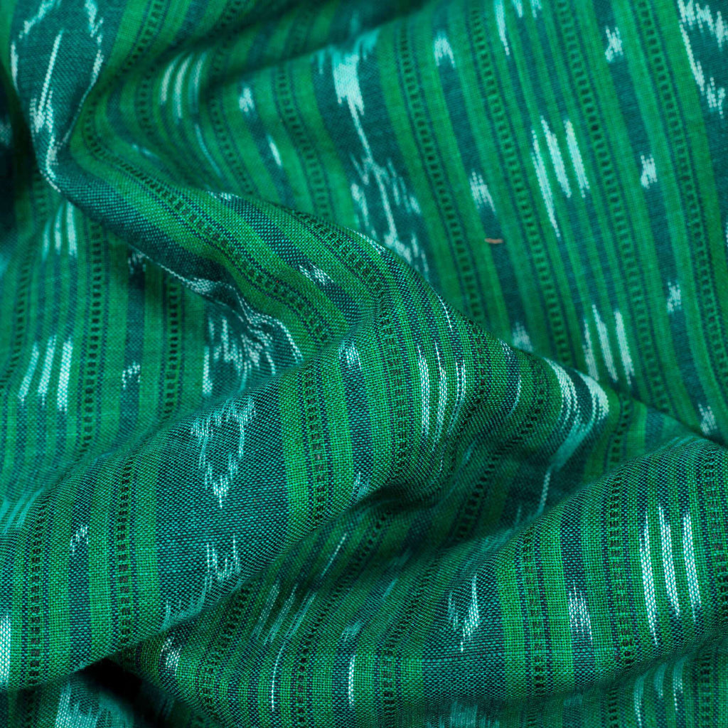Green Stripes Pattern Loom Textured Pre-Washed Mercerised Sambhalpuri Ikat Cotton Fabric
