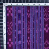 Violet Purple Stripes Pattern Loom Textured Pre-Washed Mercerised Sambhalpuri Ikat Cotton Fabric - Fabcurate