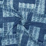 Indigo Abstact Pattern Natural Dye Printed Organic Cotton Fabric