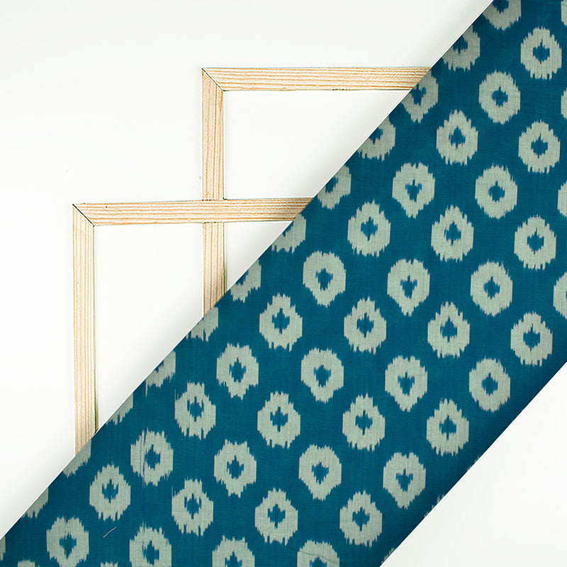 Prussian Blue And Off White Geometric Pattern Pre-Washed Mercerised Ikat Cotton Fabric