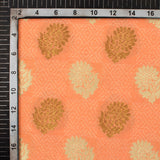 Orange Floral Pattern Zari Jacquard Banarasi Silk Fabric