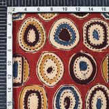 Indian Red And Aegean Blue Geometric Pattern Handblock Kalamkari Cotton Fabric - Fabcurate