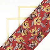 Cherry Red And Olive Green Floral Pattern Handblock Kalamkari Cotton Fabric - Fabcurate