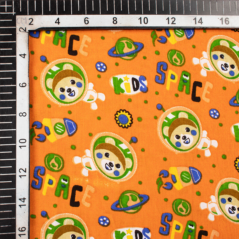 Ochre Yellow And Blue Kids Print Cotton Cambric Fabric