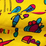 Yellow And Green Kids Print Cotton Cambric Fabric