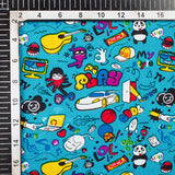 Sapphire Blue And Yellow Kids Print Cotton Cambric Fabric