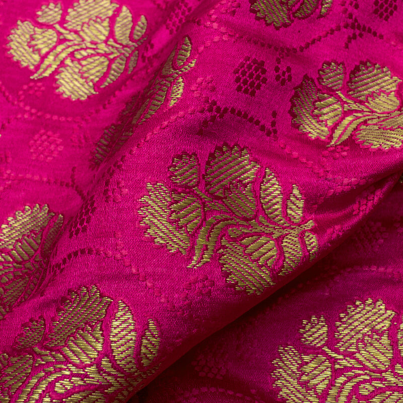 Fuchsia And Green Floral Pattern Zari Jacquard Bordered Banarasi Katan Silk Satin Fabric