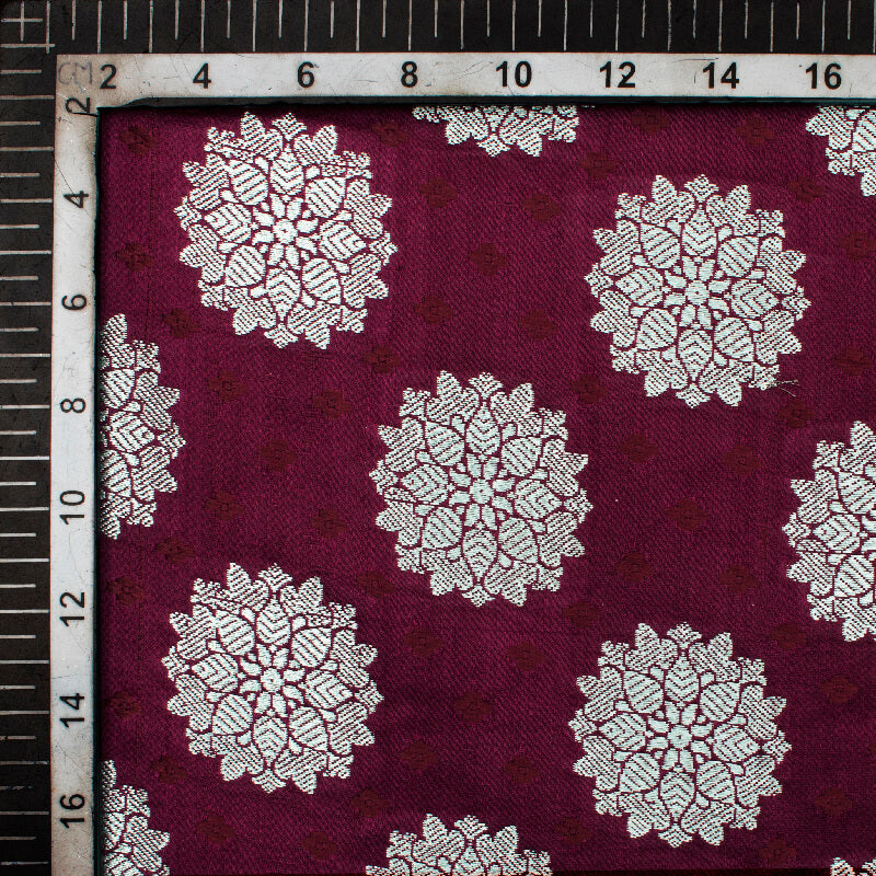 Raisin Purple Floral Pattern Zari Jacquard Banarasi Katan Silk Satin Fabric