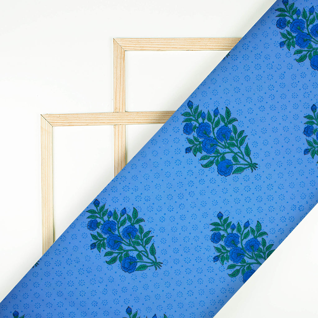 True Blue And Green Floral Pattern Handblock Lizzy Bizzy Fabric - Fabcurate