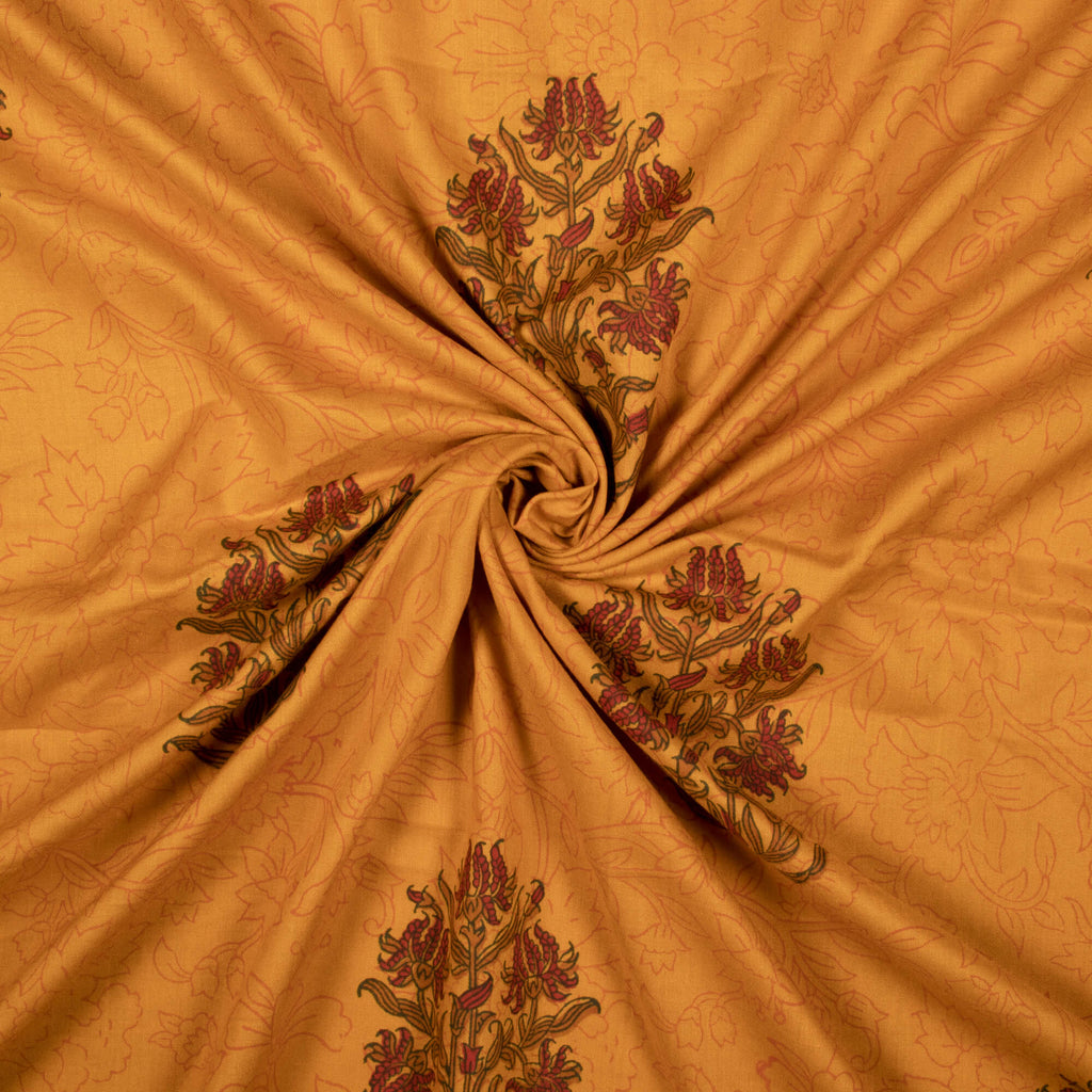 Ochre Yellow And Maroon Floral Pattern Handblock Lizzy Bizzy Fabric - Fabcurate