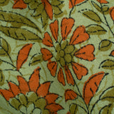 Sage Green And Orange Floral Pattern Handblock Lizzy Bizzy Fabric - Fabcurate