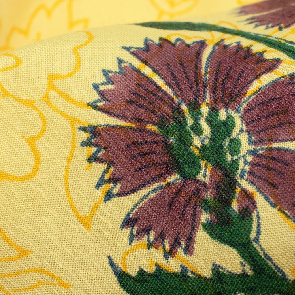 Yellow And Dark Purple Floral Pattern Handblock Lizzy Bizzy Fabric - Fabcurate